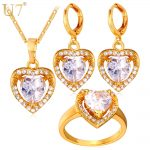 U7 Cubic Zirconia <b>Wedding</b> <b>Jewelry</b> Sets For Women Gold/Silver Color Love Heart Earrings Ring Necklace Set For Women S725