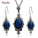 Szjinao Fashion Blue Crysta <b>Jewelry</b> Sets Dresses For Women 925 <b>Sterling</b> <b>Silver</b> Vintage Earrings/Pendant Wedding Accessories Gift