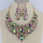 Women's statement <b>jewelry</b> sets bridal <b>wedding</b> necklace earrings set green AB colorful Rhinestone <b>Jewelry</b> for Party dress