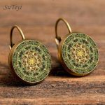SUTEYI Unique Yoga Chakra Stud Earrings Buddhism Mandala Enamel Earring Handmade Women's Ear Nail Classic Art <b>Image</b> <b>Jewelry</b>