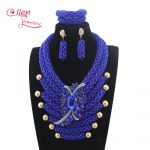 New African beads <b>jewelry</b> sets <b>Handmade</b> Vintage Royal Blue Crystal Nigerian wedding bridal Beads Necklace <b>Jewelry</b> Set W14035