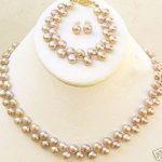 Prett Lovely Women's Wedding Real natural 7-8 mm natural pearl necklace bracelet earring sets