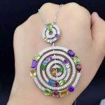 natural multicolor amethyst peridot pendant S925 <b>silver</b> Natural garnet Pendant Necklace trendy Luxury round women fine <b>jewelry</b>