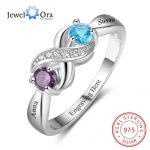 Infinity Love Promise Rings Personalized Birthstone Engrave 2 Names 925 Sterling Silver <b>Jewelry</b> Gift For Her (JewelOra RI103265)