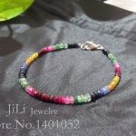 """Colourful!! !Natural Emerald ,Ruby, Rainbow Sapphire with 925 Sterling <b>silver</b> clasp <b>Bracelet</b> Total size about 7.5"""""""