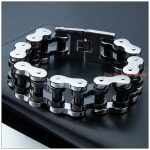 9″*22mm 156g Top Design Cool Biker Jewelry 316L Stainless Steel <b>Silver</b> Black Motorcycle Bicycle Chain Tone Men's <b>Bracelet</b> Bangle