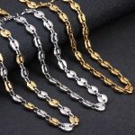 LOULEUR Stainless Steel Oval Coffee Bean Beads Chain Silver Gold Color 55cm Women Men's Chain Necklace for Diy <b>Jewelry</b> <b>Making</b>
