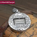Ethnic Buddha Pendant 100% Real 925 <b>Sterling</b> <b>silver</b> fine <b>Jewelry</b> for Men Women lucky Heart Sutra Lotus Necklace Pendant 2018 P65