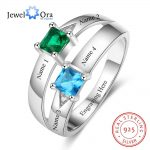 Personalized Gift for Love Engrave names 2 Birthstone Promise Rings For Women 925 Sterling Silver <b>Jewelry</b> (JewelOra RI103286)