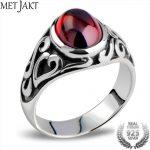 MetJakt Men's Vintage Thai <b>Silver</b> Garnet Vampire Rings & Hand Carved Pattern Solid 925 <b>Sterling</b> <b>Silver</b> Ring for Men Punk <b>Jewelry</b>