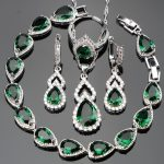 <b>Wedding</b> Green Stones White CZ Silver 925 Women Bridal <b>Jewelry</b> Sets Adjustable Size Rings Earrings Necklace Set Free Gfit Box
