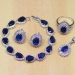 Water Drop Blue Cubic Zirconia White CZ Women 925 Sterling <b>Silver</b> Jewelry Sets Earrings/Pendant/Necklace/Ring/<b>Bracelet</b> T186