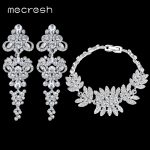 Mecresh Luxurious Chandelier Crystal Earrings Bracelet Wedding <b>Jewelry</b> Sets Bridal <b>Jewelry</b> Sets Wedding <b>Accessories</b> EH198+SL042