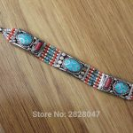 BR019 Ethnic Tibetan Copper Inlaid Colorful Stone 15mm Wide Clasp Bracelet <b>Handmade</b> Nepal <b>Jewelry</b>