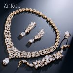 ZAKOL Luxury Cubic Zirconia Women Wedding <b>Jewelry</b> Sets Gold-color Flower <b>Jewelry</b> for Women FSSP236