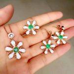 Natural green emerald gem jewelry sets natural gemstone ring Pendant <b>Earrings</b> 925 <b>silver</b> Stylish Network Fan women jewelry