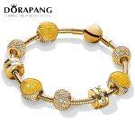 DORAPANG 100% 925 Sterling <b>Silver</b> Brand New 18 GOLD Color <b>Bracelet</b> Glitter Charm Sunlight Sunshine <b>Bracelet</b> Set For DIY Gifts