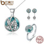 BAMOER Authentic 925 Sterling Silver <b>Jewelry</b> Set Green Crystal CZ Tree of Life Bridal <b>Jewelry</b> Set Sterling Silver Christmas Gift