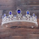 Baroque Blue Crystal Tiara Gold Crown Hair Accessory Pearl <b>Jewelry</b> Red Crown Cake Bridal <b>Wedding</b> Headpiece Hair <b>Jewelry</b> diadem