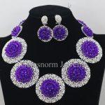 Purple Chunky Bib Beads Necklace Earrings Set African Indian Costume Women Party Jewelry Set Brides Gift Set WA034
