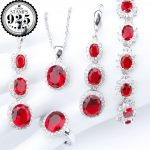<b>Silver</b> 925 Cosutme Bridal Jewelry Sets Red Zircon <b>Bracelets</b> Pendant Necklace Earrings Rings With Stones For Women Set Gift Box