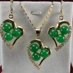 Women's Wedding stone green gem red coral heart-shaped Pendant Necklace Earrings set A23401 5.23 silver-<b>jewelry</b> silver-<b>jewelry</b>