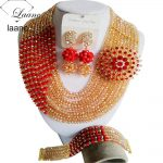 Gorgeous Brooches Red Gold Crystal Beaded Nigerian Beads <b>Necklaces</b> African Wedding Beads <b>Jewelry</b> Set CPS4915