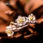 GLSEEVO Real 925 Sterling Silver Adjustable Rings For Women Wife <b>Handmade</b> Flower Open Ring Gift Fine <b>Jewelry</b> Anel Luxury GR0008