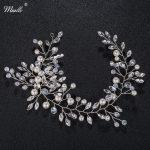 Miallo <b>Fashion</b> Crystal Pearls Headbands Silver Foliage Hair <b>Jewelry</b> Accessories Wedding Hairpieces Women Headdress HS-J4542