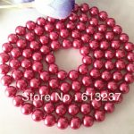 Noble rose shell round imitation pearl 8mm charming beads diy classical long chain necklace women <b>jewelry</b> <b>making</b> 36 inch MY3347