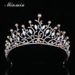 Minmin Popular Leaves Simulated Pearl Tiaras and Crowns Crystal Gun Black Color Bridal Wedding Hair <b>Jewelry</b> Accessories MHG093