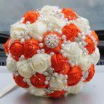 Ivory Orange Artificial Wedding Bouquets <b>Jewelry</b> Pearl Brooch Bouquet <b>Supplies</b> Marriage Wedding Holding Flowers Burgundy W251-1