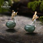 Lotus Fun Real 925 <b>Sterling</b> <b>Silver</b> Natural Stone Creative Handmade Fine <b>Jewelry</b> Lovely Bird Dangle Earrings for Women Brincos