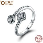 BAMOER 100% 925 Sterling Silver Round & Square Dazzling CZ Open Finger Ring for Women Wedding Engagement <b>Jewelry</b> Anel PA7626