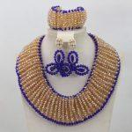 Champagne Crystal <b>Handmade</b> Beads <b>Jewelry</b> Set Trendy Design African Blue Earrings Wedding Bridal <b>Jewelry</b> Set Free ShippingABL956