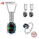 HONGYE Top Quality 925 Sterling <b>Silver</b> Jewelry Sets for Women Colorful Rhinestone Pendant <b>Necklace</b> & Earrings & Ring Bridal Gift