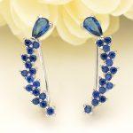 Bella Fashion 925 Sterling Silver Teardrop Bridal Ear Cuff Vine Cubic Zircon Earrings Silver Tone For <b>Wedding</b> Party <b>Jewelry</b> Gift