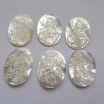 6pcs <b>Handmade</b> White Mother of Pearl Shell <b>Jewelry</b> 22x30mm Virgin Mary Oval Cameo Cabochon Shell Beads