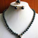 Women's Wedding Charming Noble Women'S Black Pearl Necklace Earring Ring(7/8/9) <b>Jewelry</b> Set real silver-<b>jewelry</b>