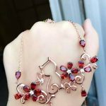 Natural red garnet Necklace natural gemstone Pendant Necklace S925 <b>silver</b> trendy Elegant personality garden Cat women <b>Jewelry</b>