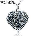 100% Real Pure 925 Sterling <b>Silver</b> Heart Locket Photo Frame Pendant <b>Necklace</b> Antique <b>Silver</b> Angel Wing <b>Necklace</b> For Women