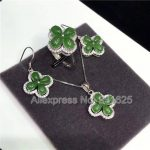 925 <b>silver</b> Natural Green HeTian Yu Beads Inlay Flower Pendant Necklace Dangle <b>Earring</b> ring Set + certificate Fashion Jewelry