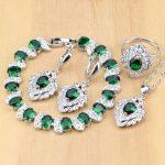 925 Silver Bridal <b>Jewelry</b> Sets Green Zircon White CZ Docoration For Women Weeding Earrings Pendant Rings Bracelet <b>Necklace</b> Set