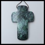Carved Natural stone Turquoise Carved Cross <b>Necklace</b> Pendant ,67x43x7mm,21.8g