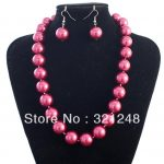 12mm rose red shell simulated-pearl free shipping round beads necklace earrings 18inch high grade <b>jewelry</b> <b>making</b> MY2030