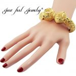 JUST FEEL New India Brass Openable Bangle Bracelet Screw Big Flowers Arab Ethiopian Bangle Gold Color Dubai Africa <b>Jewelry</b> Gift
