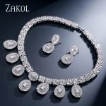 ZAKOL Luxury Bridal Wedding Design Water Drop Cubic Zircon <b>Necklace</b>/ Earrings/ Bracelet/ Ring <b>Jewelry</b> Set For Women FSSP231