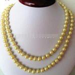 Selling <b>Jewelry</b>>>HOT! Fashion 8mm Yellow Ocean Shell Pearls Necklace Beads DIY Fashion <b>Jewelry</b> <b>Making</b> Design Natural Stone 32inc