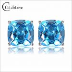 Fashion topaz <b>silver</b> stud <b>earrings</b> 6 mm * 6 mm flawless natural blue topaz <b>earrings</b> for party sterling <b>silver</b> topaz jewelry
