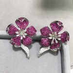 earring jackets 925 sterling <b>silver</b> with cubic zircon flower for designer DIY fashion women <b>jewelry</b> top quality